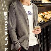 男裝春秋季新款男士薄外套上衣服修身V領毛衣針織衫開衫線衣潮流  印象家品旗艦店