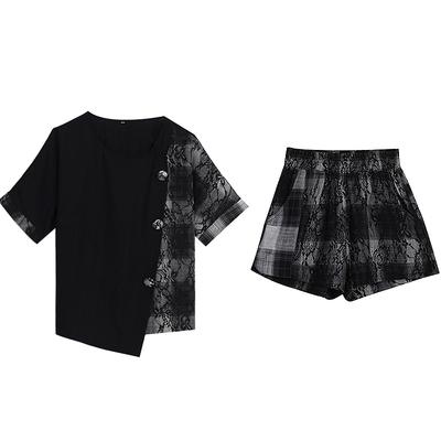 上衣短褲套裝兩件式L-5XL大碼胖妹妹短褲套裝顯瘦兩件套洋氣時尚減齡時髦潮R031-A.1號公館