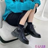 馬丁靴女英倫風靴子春季新款短筒小短靴女秋冬加絨厚底瘦瘦靴超級品牌【公主日記】