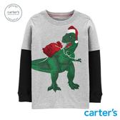 【美國 carter s】聖誕恐龍送禮去.假兩件長袖上衣-台灣總代理