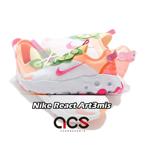 Nike 慢跑鞋 Wmns React Art3mis 白 粉紅 女鞋 休閒鞋 舒適泡棉 運動鞋【ACS】 DD8483-168