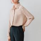 長袖襯衫女士職業雪紡襯衫女設計感小眾長袖垂感襯衣款長袖上衣【2021新春特惠】