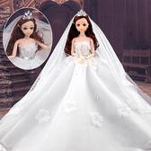 芭比娃娃【節新年禮物】樂心多芭比洋娃娃套裝女孩婚紗公主大禮盒兒童玩具