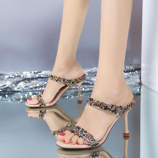高跟涼鞋拼色一字拖2021夏季新款百搭露趾女鞋細跟外穿無后跟拖鞋 3C數位百貨