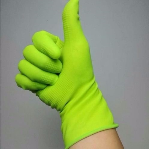 乳膠手套5雙綠色貼手型女士短款純膠洗碗清潔防滑防水膠皮防護