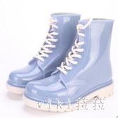 水鞋女雨靴短筒防水時尚款外穿夏防滑韓國可愛馬丁透明膠鞋雨鞋女SY71【VIKI菈菈】