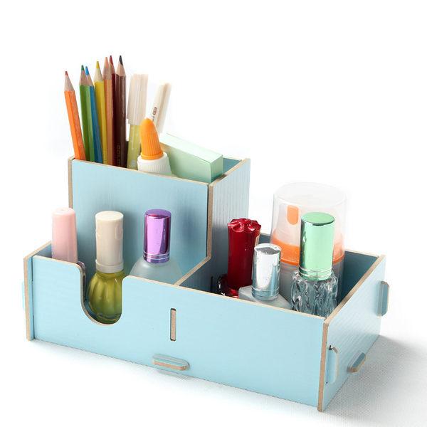 【狐狸跑跑】 木制 妝品收納盒 DIY收納盒 桌面木質筆筒盒【27】