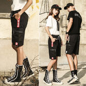 情侶 潮流側邊字母織帶設計大口袋抽繩短褲(二色)【M0K25】