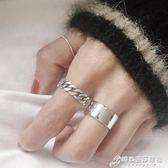 戒指 韓國簡約復古做舊925純銀燒銀工藝鏈條麻花戒指開口戒指環 時尚芭莎