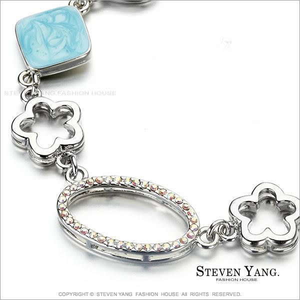 手鍊STEVEN YANG正白K飾「花間精靈」T字扣 藍色款 甜美小資女