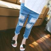 童褲女童打底褲2020夏裝新款兒童牛仔七分褲中大童童裝破洞褲