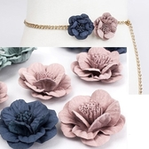 2016062201 BQ 古典美 花朵金屬編織腰鍊美之札