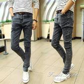 牛仔褲 秋季彈力雪花牛仔褲男學生韓版修身型小腳褲青少年黑色緊身長褲子 果果輕時尚