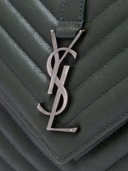 YSL Saint Laurent Collège 中款 復古金屬 V字縫線羊皮學院包(中/深綠)