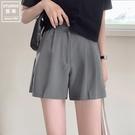 ins超火西裝短褲2021夏新款薄款顯瘦高腰直筒寬管褲休閒褲熱褲女 黛尼時尚精品