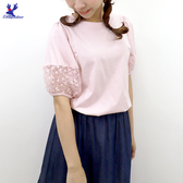 【春夏新品】American Bluedeer - 袖拼蕾絲上衣 二色