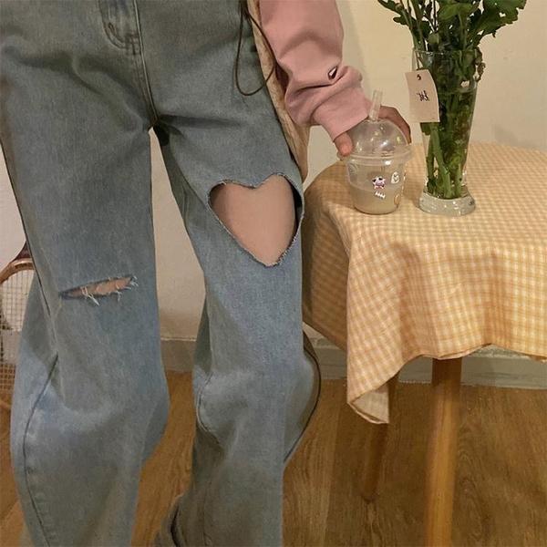 韓版高腰設計感愛心破洞牛仔褲女秋冬ins寬鬆顯瘦老爹褲闊腿長褲 韓國時尚週 免運