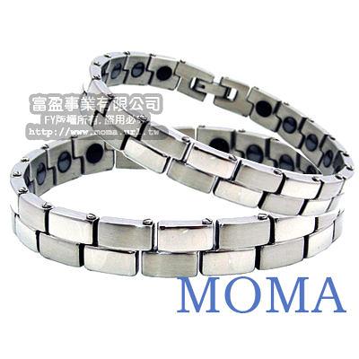 MOMA-【IZUMI】系列白鋼鍺磁手鍊-IS-001男女對鍊
