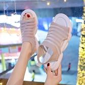 低跟涼鞋 飛織運動涼鞋女2021年春夏新款休閒時尚百搭網紅平底低跟超火女鞋 夏季新品