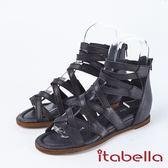 ★2018春夏新品★itabella.交叉帶後拉鍊真皮楔型厚底羅馬涼鞋(8311-91黑)