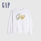 Gap女裝 Logo簡約碳素磨毛休閒上衣 655697-白色