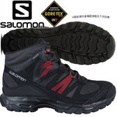 Salomon 399674 幻影灰/黑/葡萄紅 男Shindo GTX防水中筒登山鞋 Gore-Tex健行鞋/多功能鞋/郊山鞋/防水越野鞋