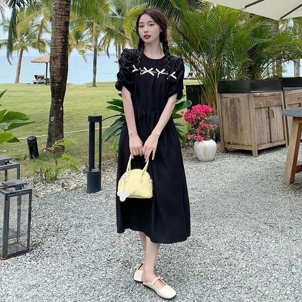洋裝 連身裙 中大尺碼M-4XL新款大碼設計感蝴蝶結遮肉顯瘦中長款胖mm小黑裙4F041B-551.胖胖唯依