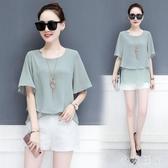 百搭雪紡衫女2020夏季新款韓版寬鬆氣質短袖上衣很仙的洋氣打底衫 kp1053『小美日記』