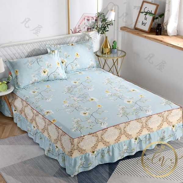 床裙 床笠席夢思床裙床罩式床套花邊床單防塵防滑保護套單件1.5米1.8m床笠-凡屋