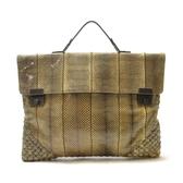 BOTTEGA VENETA 寶緹嘉 黃棕色蛇皮公事包 手提包 2way bag 【二手名牌BRAND OFF】