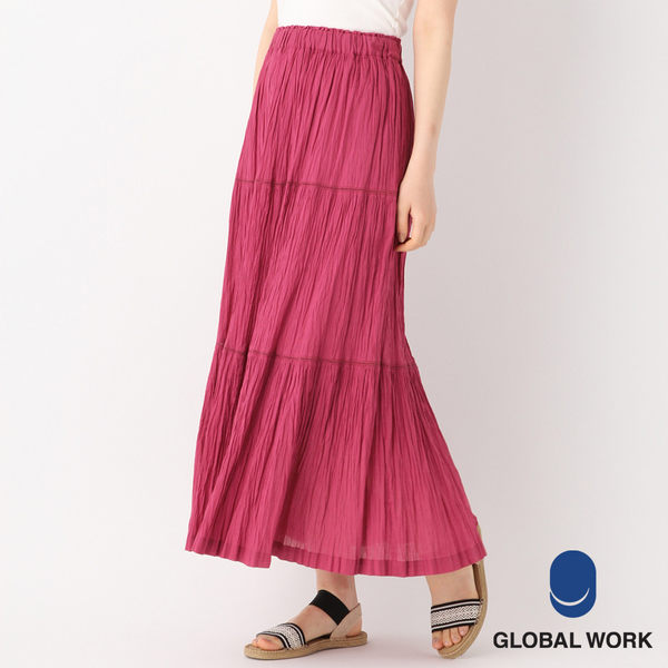 GLOBAL WORK女素色大人氣純棉抓皺半身裙百摺長裙-五色