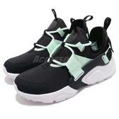 Nike 休閒鞋 Wmns Air Huarache City Low 黑 綠 綁帶 低筒 女鞋 武士鞋【PUMP306】 AH6804-010