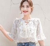 2019夏季新款很仙的碎花雪紡衫女七分袖寬松韓版超仙洋氣小衫上衣