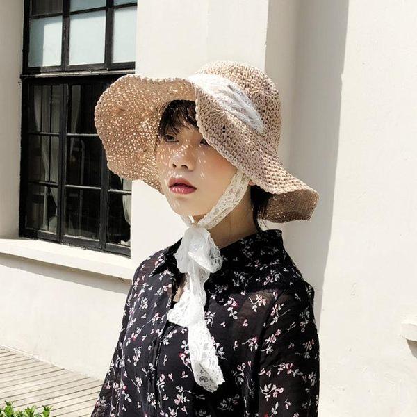 夏季遮陽草帽蕾絲綁帶太陽帽 防風可折疊手工帽m171