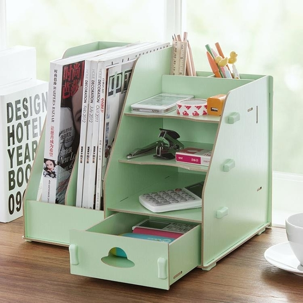 木質辦公室文件收納盒DIY文件架創意桌面抽屜式文具書立盒整理盒YYJ 快速出貨