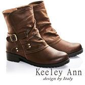 ★2016秋冬★Keeley Ann騎士風格~可反摺拼接雙皮帶飾釦造型低跟短靴(棕色)