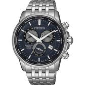 CITIZEN 星辰 光動能萬年曆手錶-灰藍x銀/42mm BL8150-86L