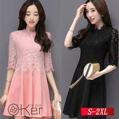修身顯瘦假兩件蕾絲洋裝 S-2XL O-Ker 歐珂兒 13328-C1
