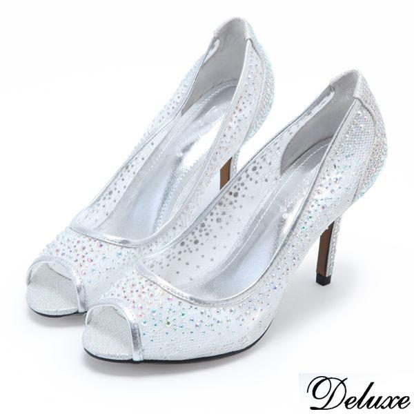 Deluxe-浪漫網紗水鑽魚口跟鞋-銀