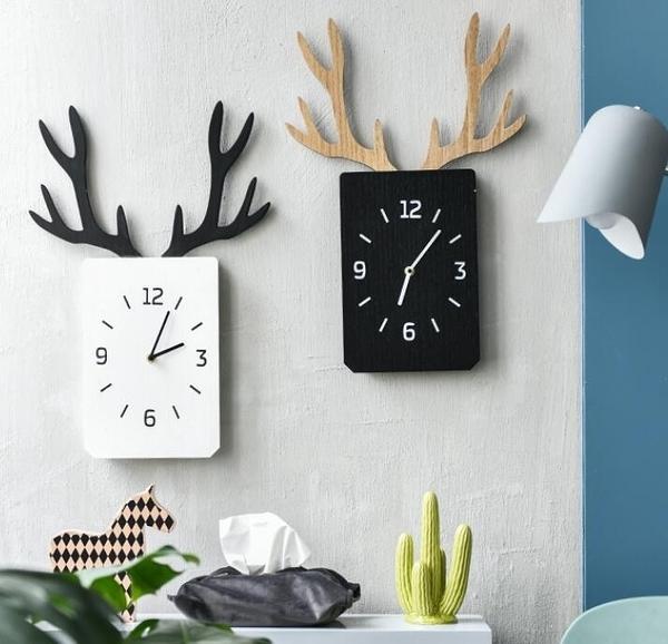 掛鐘 北歐裝飾創意INS鹿角鐘錶客廳墻面壁掛臥室靜音時鐘木質方形掛錶 莎瓦迪卡