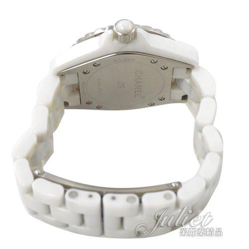 茱麗葉精品 二手精品【9.5成新】CHANEL J12 香奈兒12顆鑽陶瓷機械錶.白 33mm
