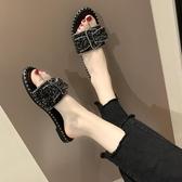 促銷全場九折 水鉆涼拖鞋女夏外穿新款韓版室外平底網紅一字拖百搭拖鞋女潮