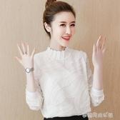 秋季女裝年新款韓版雪紡衫長袖蕾絲打底衫女秋裝上衣洋氣小衫 夢露時尚女裝