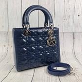 BRAND楓月 CHRISTIAN DIOR 迪奧 舊版 LADY DIOR 藍色 亮粉 漆皮 手提包 側背包 兩用包