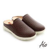 A.S.O 3D超動能 真皮鬆緊帶奈米健走張菲鞋-咖