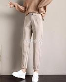 哈倫褲 毛呢褲子女2021新款西裝褲寬松顯瘦哈倫褲直筒休閑蘿卜褲長褲 快速出貨