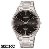 SEIKO 簡約輕薄素面大三針鋼帶男錶x40mm黑・7N42-0FW0D SGEG95P1・公司貨・藍寶石水晶玻璃鏡面
