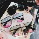 新款大方框男女百搭方臉旅遊海邊淺色墨鏡多彩太陽鏡圓臉  育心小館