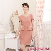 【RED HOUSE 蕾赫斯】素色珍珠腰鍊合身洋裝(共二色)