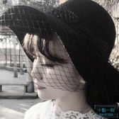 禮帽 正韓黑色大沿禮帽兔毛球網紗帽氈帽復古秋冬羊女時尚 十點一刻